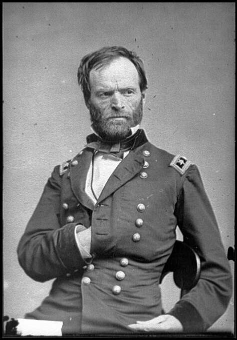 This photo of Sherman by Matthew Brady shows how fleeting fads can be. Back in the civil war days this was how you posed your subjects. Does his nipple itch?