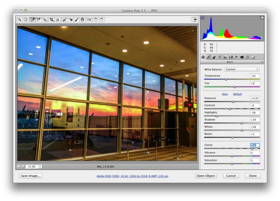 Adjust the Basic controls to improve the color and tone.