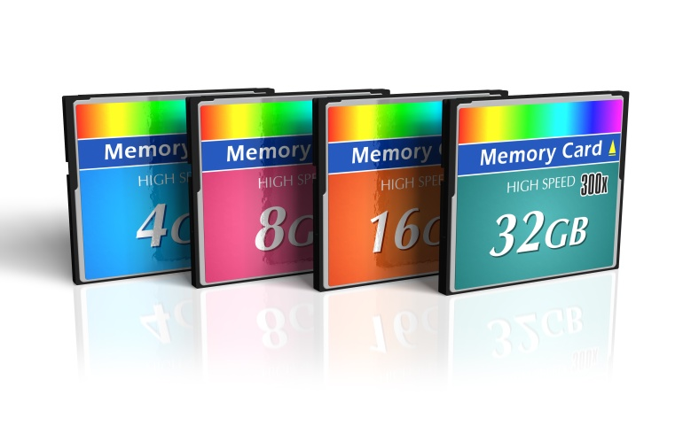 Set of CompactFlash memory cards