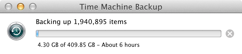 Backing up a full laptop to Time Machine ran fairly wuic.