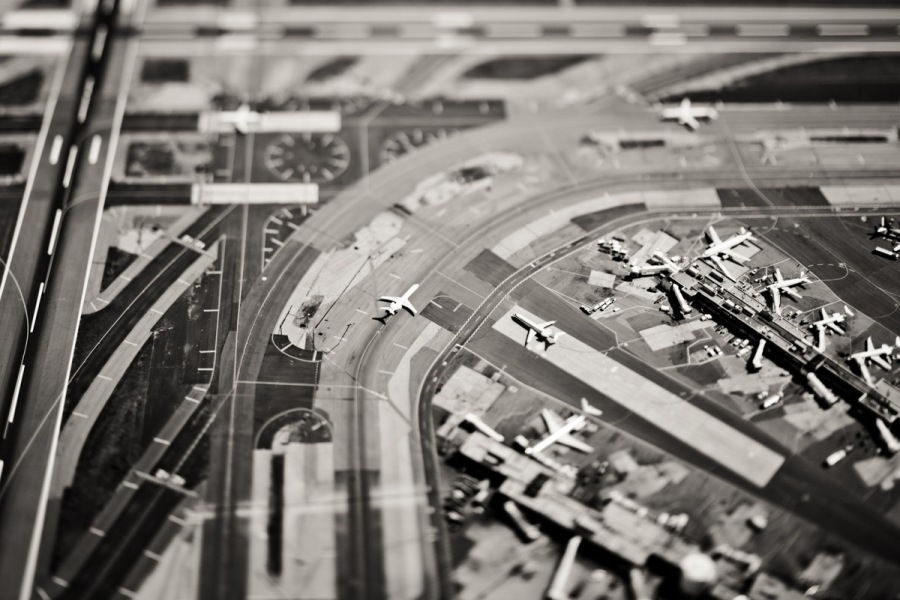 Looking down on plane on the runway at Laguardia Airport.