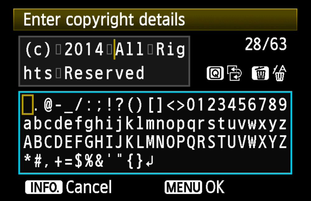 Camera copyright info